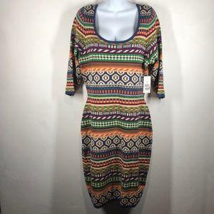 NWT FTF orange and blue tribal print dress size 1X